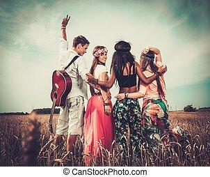 hippie, friends, multi-ethnisch, feld, gitarre, weizen