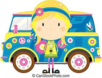 hippie, furgão, retro, caricatura