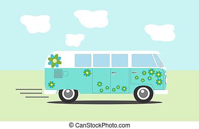 hippie, furgão, vista lateral