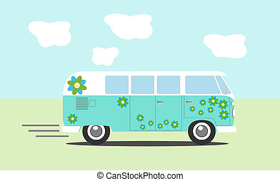 hippie, furgoneta, vista lateral