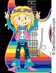 Hippie Girl & Guitar