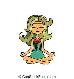Hippie girl, meditation