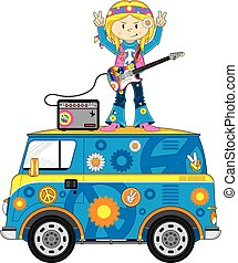 Hippie Girl on Camper Van - Cute Cartoon Flower Power Hippie...