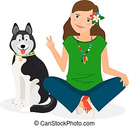 Hippie Girl with Dog