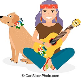 Hippie Girl with Guitar and Dog