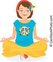 Hippie Girl Yoga Meditation