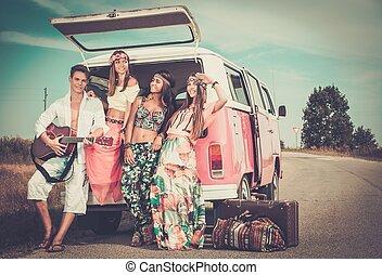 hippie, gitarre, multi-ethnisch, friends, reise, straße
