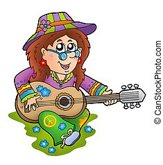 Hippie guitar player outdoor - color illustration.