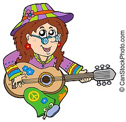Hippie guitar player - isolated illustration.
