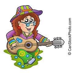 hippie, guitar speler, buiten