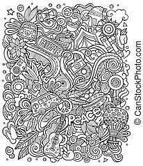 Hippie hand drawn vector doodles illustration. Hippy poster design.