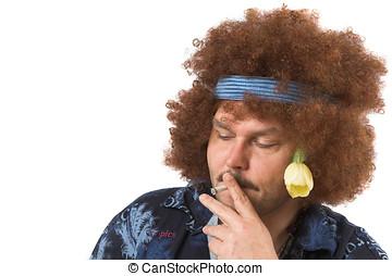 Hippie having a smoke