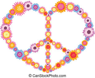 hippie heart made from flowers vector