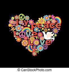 Hippie heart print with doves and rainbow