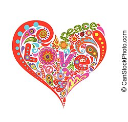 Hippie heart with colorful floral pattern