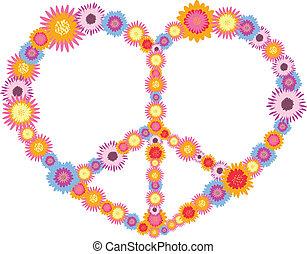 hippie, herz, gemacht, von, blumen, vektor