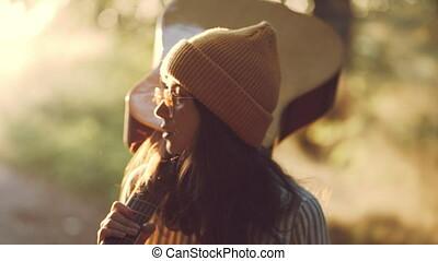 hippie, het reizen, meisje, haar, guitar., summer., style.,...