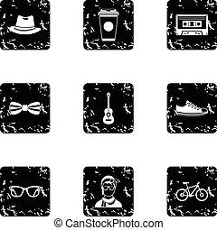 Hippie icons set, grunge style
