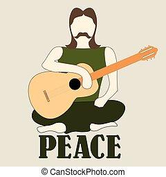 hippie, illustration, gitarr, vektor, cross-legged, man