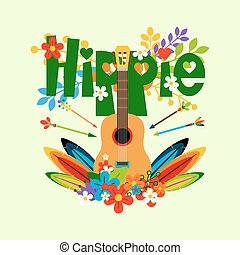 Hippie illustration with guitar and flowers