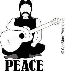 Hippie, illustrazione, chitarra, vettore, a gambe incrociate, uomo