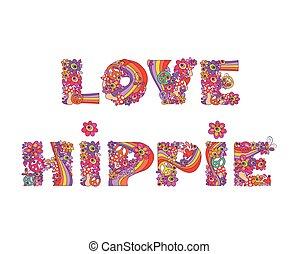 hippie., impresión, flores, amor