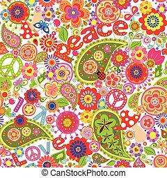 hippie, infantil, coloridos, papel parede