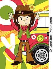 hippie, jongen, &, bestelbus