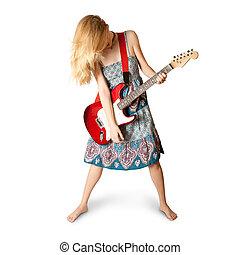 hippie, m�dchen, mit, elektrische gitarre