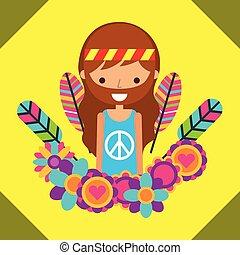 hippie man free spirit in love heart flowers