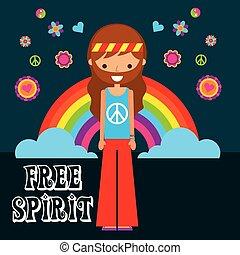 hippie man rainbow flowers free spirit