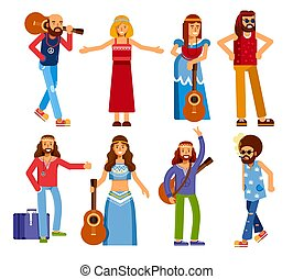 Hippie men and women subculture peace and love isolated character