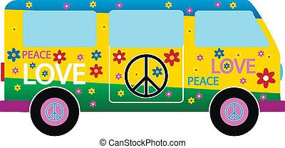 Hippie minibus icon on white background. Vector...