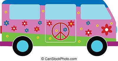 Hippie minibus icon on white background. Vector illustration.
