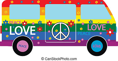 Hippie Minibus Icon On White Background Vector Illustration