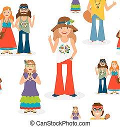 hippie, modèle, heureux, seamless, gens