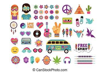 hippie, moda, arte, remendos, ícones, jogo, boêmio, desenho, adesivos, chique, alfinetes, emblemas