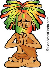 hippie monk with colorful dreadlocks