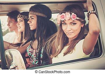 hippie, multi-ethnisch, minivan, friends, reise, straße