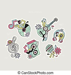 Hippie music doodle stickers set