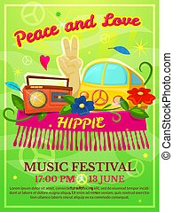 Hippie music festival poster, vector illustration