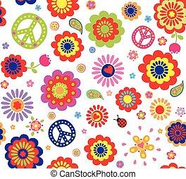 hippie, papel pintado, con, resumen, flujo