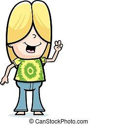 Hippie Peace Sign - A happy cartoon hippie boy giving the...