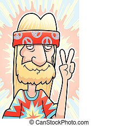 A happy cartoon hippie making the peace sign.