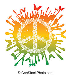 hippie peace symbol - abstract artistic hippie peace symbol...
