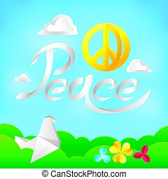Hippie peace symbol on a nature background