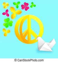 Hippie peace symbol with flowers and origami