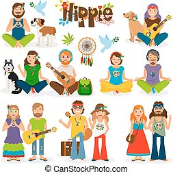 Hippie people vector icon set
