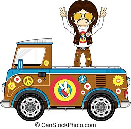 Hippie & Pick-Up Van - Cute Cartoon Flower Power Hippie and...