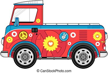 Hippie Pick Up Van - Cute Cartoon Flower Power Hippie Van...
